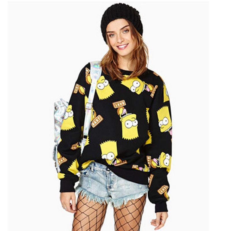 Wholesale Clima Cartoon Picture Of Bart Simpson Printing All match Playful Leisure Rib Women s Sweatshirts