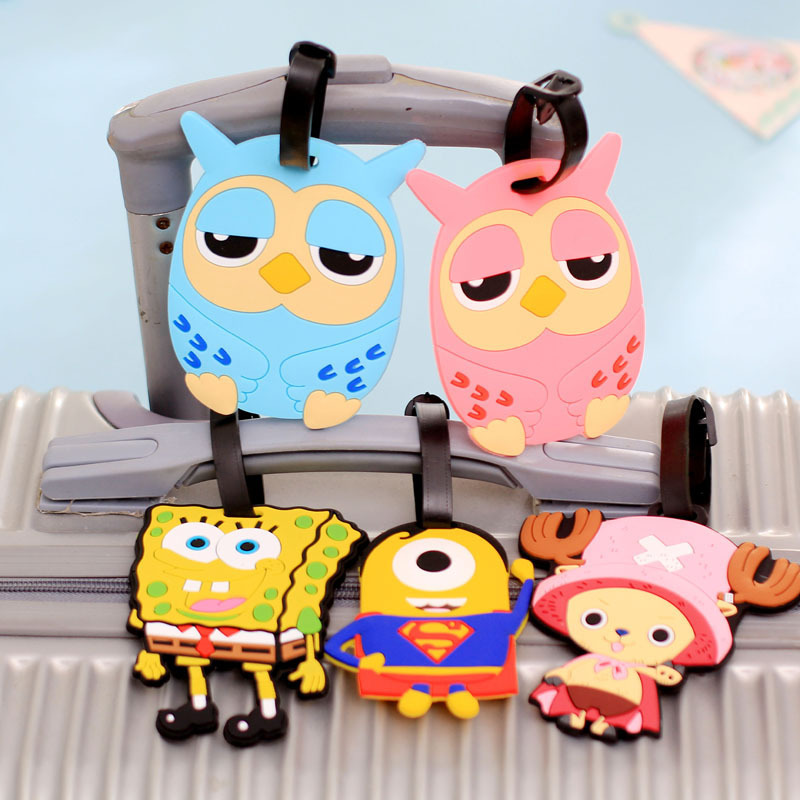Wholesale Korean Cartoon Luggage Tag Luggage Silicone Creative Boarding Card Sets Abroad Small Cute Travel Accessories