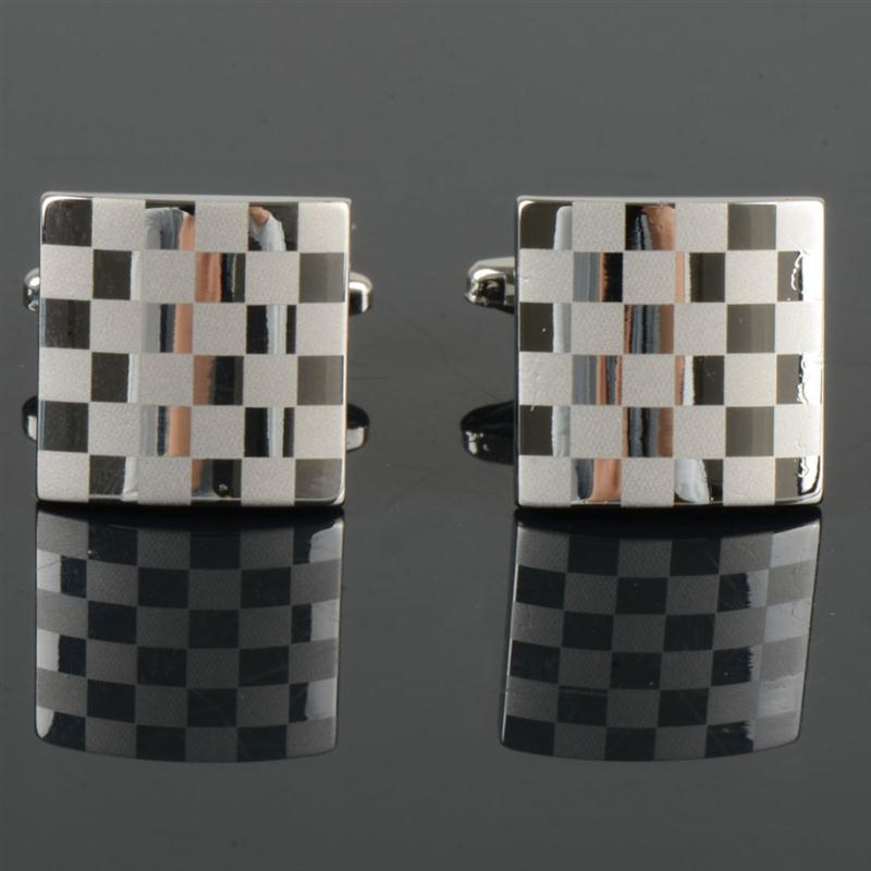 Wholesale Stainless Steel Silver Mens Dress Wedding Party Gift Shirt Grid Cuff Links B1996 PJP