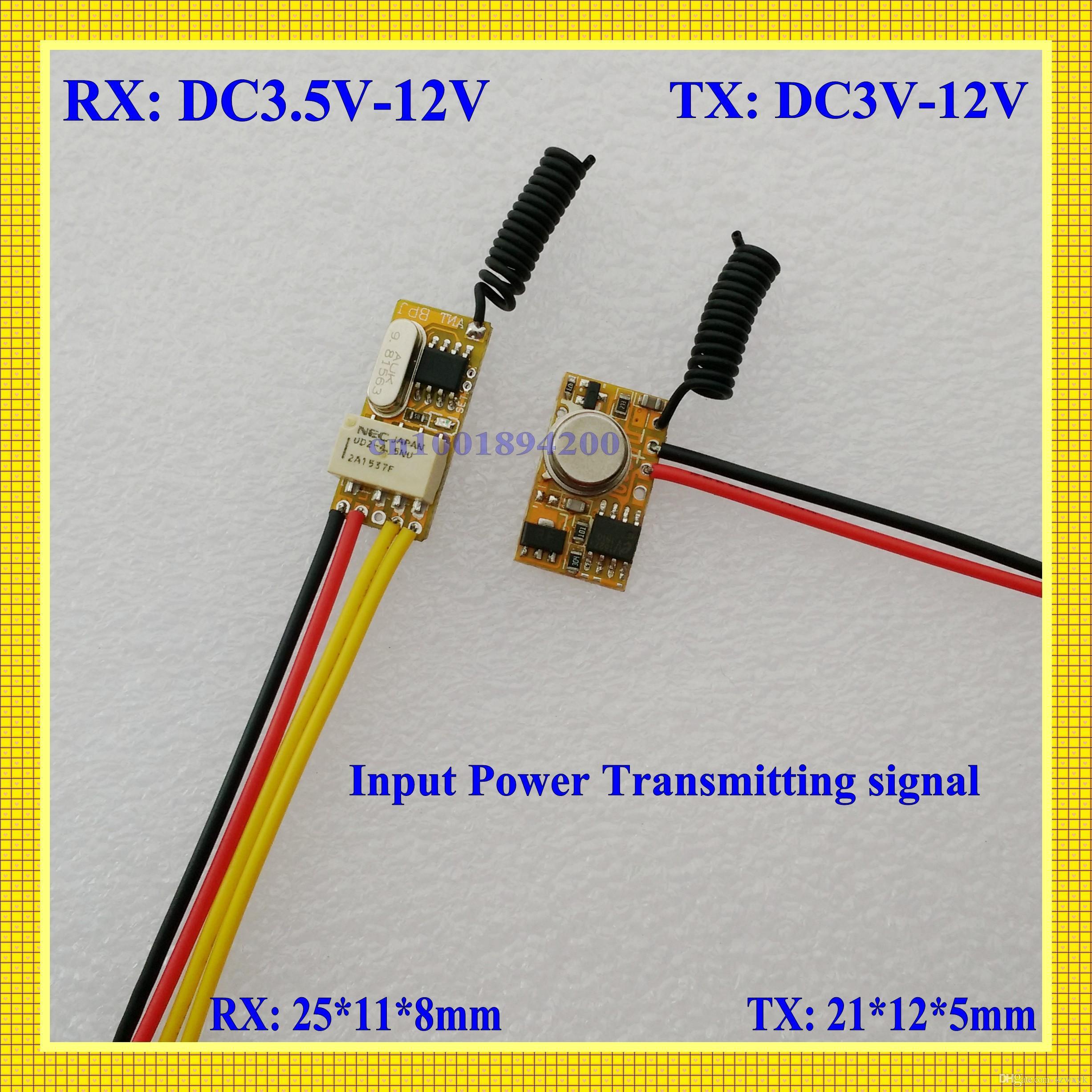 Wholesale DC3 V DC12V Mini Relay Receiver DC3V DC12V Transmitter PCB Power ON Transmitting V V V V V V V Wireless TX RX Mod