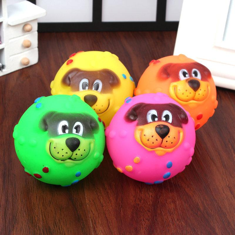 Wholesale Various Colours Lovely Face Molar Dog Ball With Squeaker Sound Puppy Pet Dogs Chew Toy