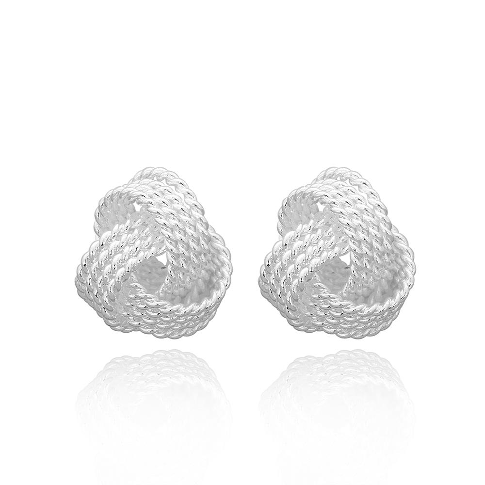 Wholesale New Supplies Earrings Fashion High Quality Simple Spherical Silver Earring Tennis Woven E013 Earrings