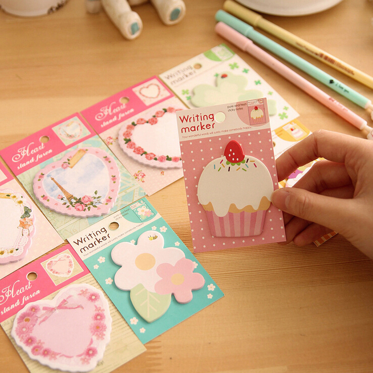 Wholesale 6 x Kawaii Vintage Floral Cake Planner Memo Pads School Supplies Stationery Sticky Notes Notepad Post it Papelaria Sticker