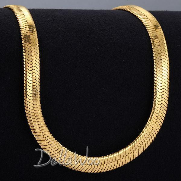 al por mayor collar de aniversario para hombre-Los hombres al por mayor-Mens encadenan la joyería llena oro del aniversario del collar GF de la serpiente del MIRROR de la serpiente del ESPEJO de la cadena 3.5 / 4.5 / 5.5 / 9/10 / 11mm DNLM38