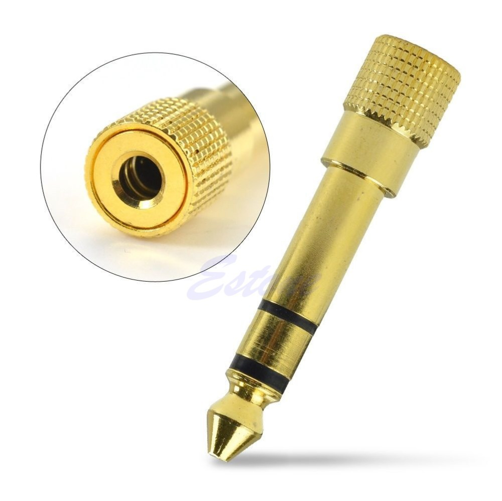 Wholesale J34 quot Plug Audio Adapter Converter Gold mm quot Male to mm quot Female Stereo