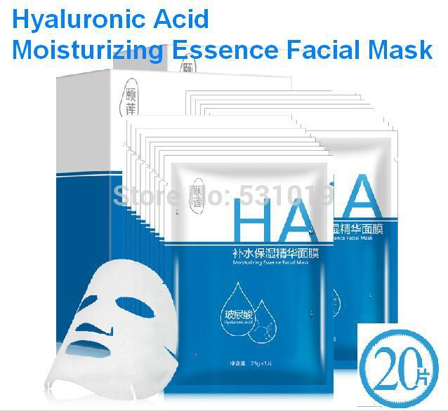 Wholesale 20pcs Face Mask Hyaluronic Acid Moisturizing Essence Facial Mask Face Care Skin Food Procucts Gift pc for Free