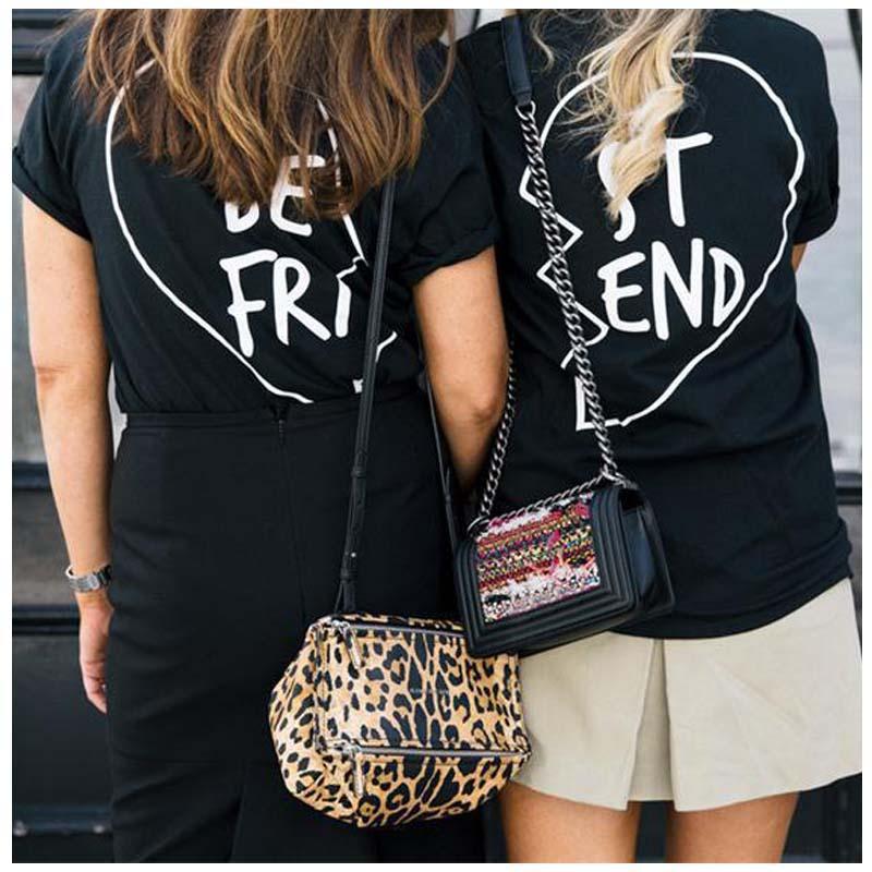best graphic tees - Best Friends T shirt Women Summer Best Friend Graphic Tees Women Printed Short Sleeve Punk Rock T shirts black color