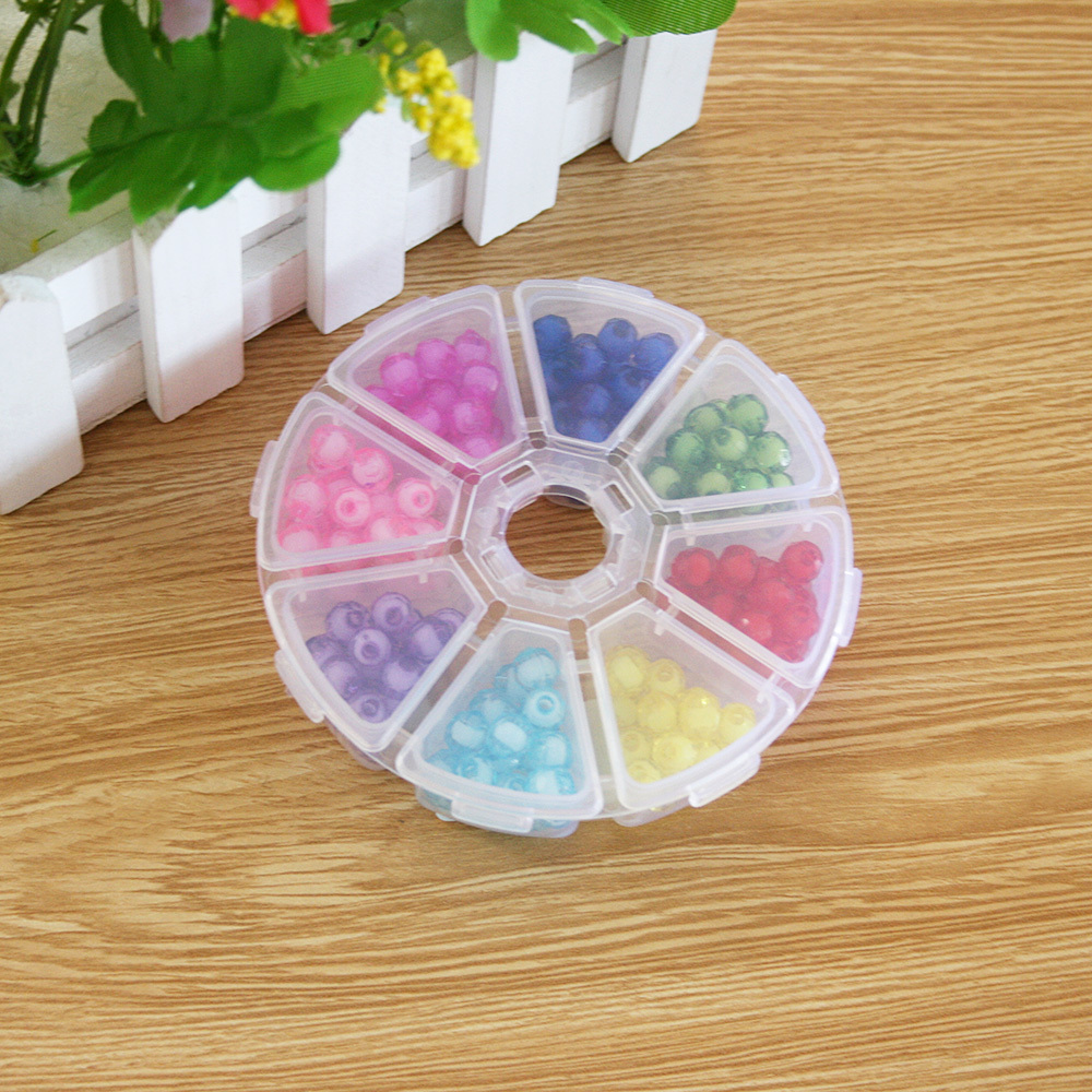 Wholesale 8mm Hot Bracelet Plastic Acrylic Bead Kit Accessories Girl Toys Mixed Kids Beads with Box Beads for Children BDH027