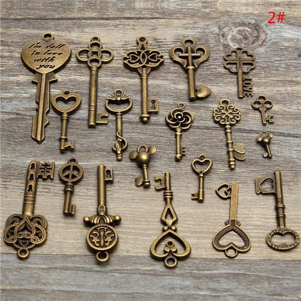 achat en gros de millésime clés squelette gros-Vente en gros-19pcs nouvelle arrivée antique vintage vieux look squelette clé beaucoup pendentif coeur bow lock steampunk bijou