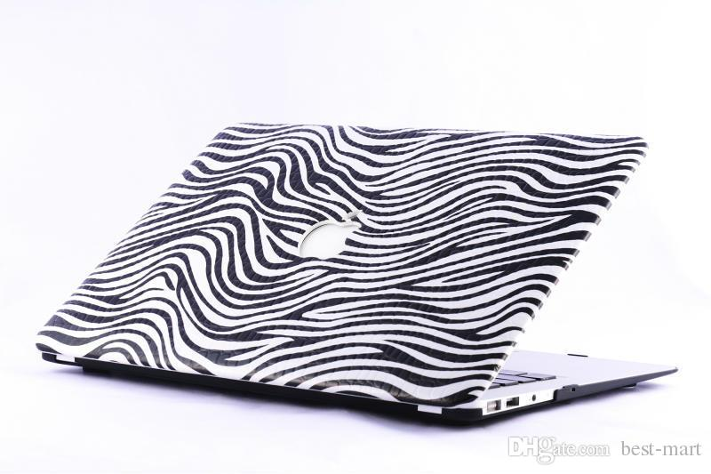 Wholesale Zebra PU Leather Covers Front Back Hard PC Case Cover for Macbook Mac Laptop Notebook for Air inch Pro Retina