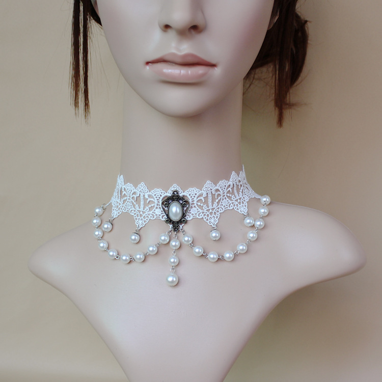 Wholesale WISHCART Fashion Lace Necklace Chain female short clavicle pearl necklace gy062