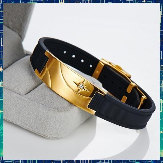 Grossiste-B90D008 Antifatigue ion infrarouge énergie scalaire bande de puissance or bio santé bénéfique caoutchouc magnétique Bracelets de sport