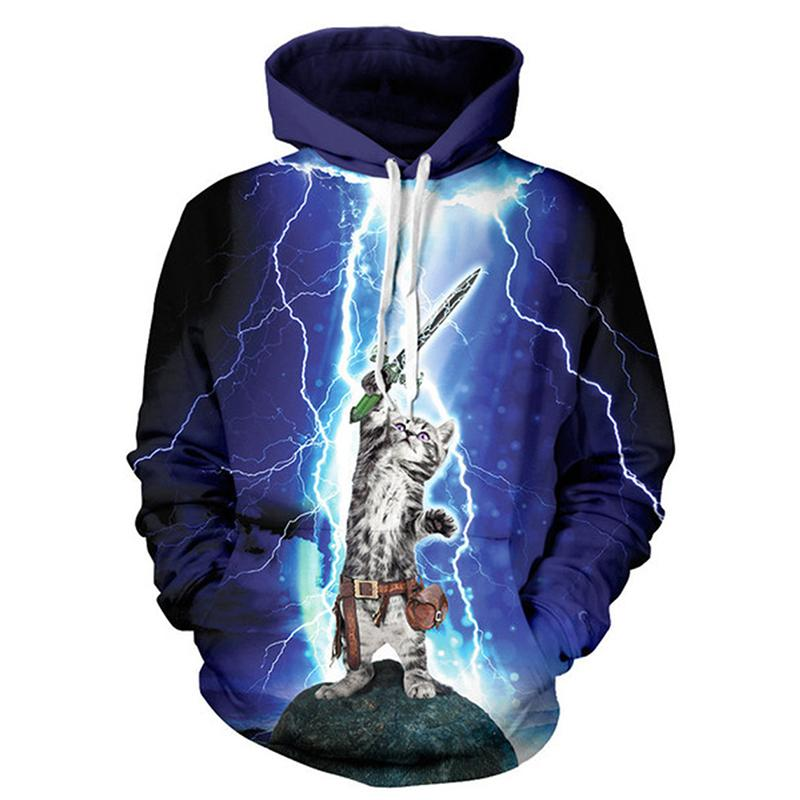 Wholesale Hot Lightning kitty cat purple D digital printing loose plus size couples lovers hooded sweater Sports Sweatshirts tracksuits