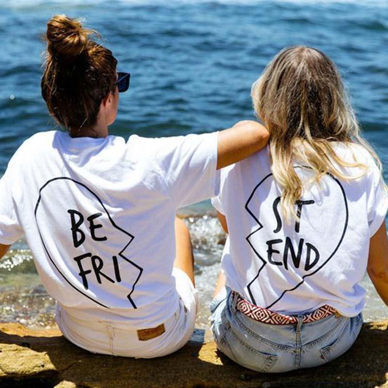 best graphic tees - Sisters clothes BBF T shirts in Set Best Friends T shirt Women Summer Best Friend Graphic Tees Women Printed Short Sleeve Punk Rock