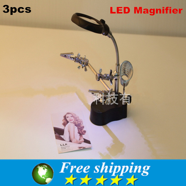 Wholesale High Quality Desktop Lamp LED Reading Magnifier Jewelry electronic inspections and repairs auxiliary clip magnifier x