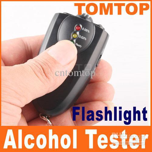 Wholesale On Sales LED alcohol testers Accurate breath alcohol tester breathalyzer flashlight H37 black