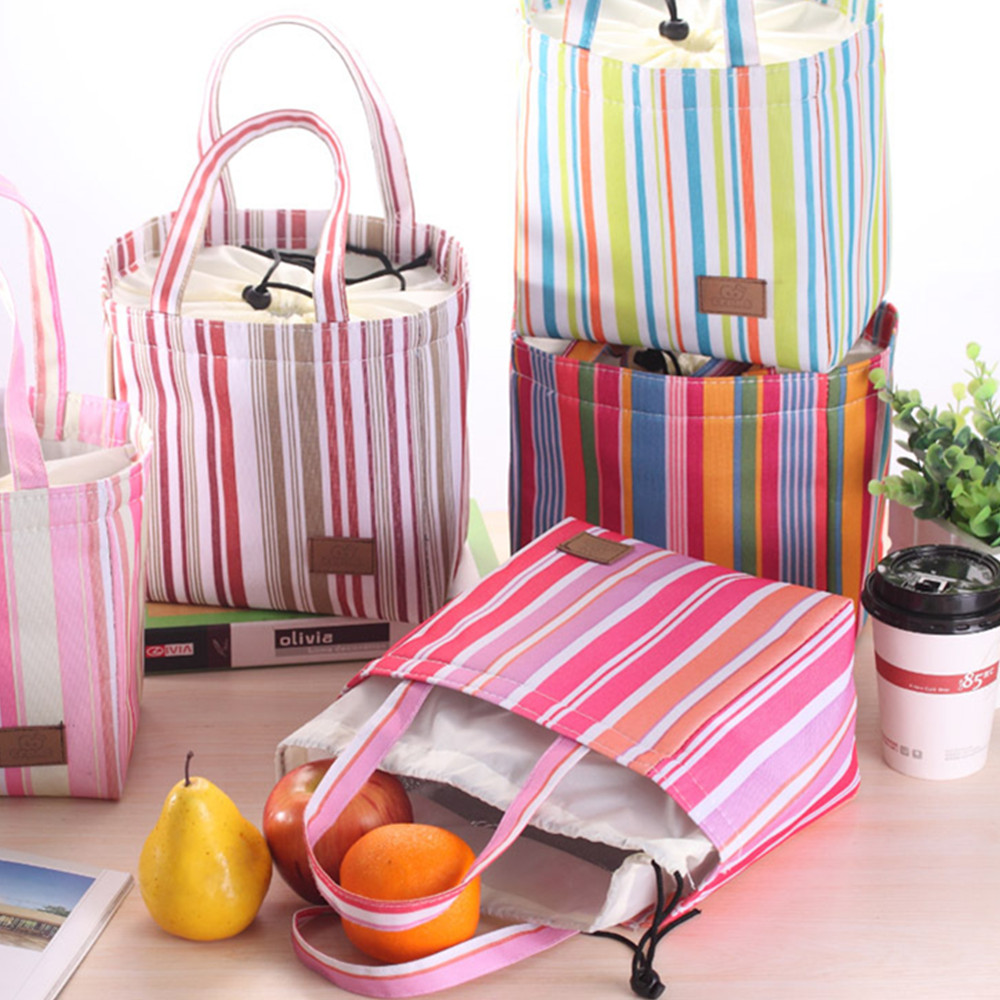 Wholesale New Arrival South Korea Vertical Stripes With Students Holding Lunch Meal Box Lunch Bag Hand Bag Waterproof Six Colors Available