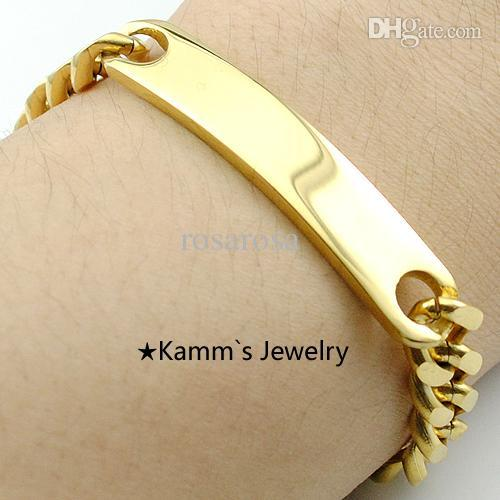 Wholesale Never Fade Men s ID Bracelet Stainless Steel K Gold Bracelets For Men cm mm High Quality KB001A
