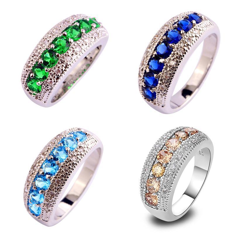 Wholesale New Women Jewelry Sapphire amp Emerald Quartz Blue Topaz Morganite Silver Ring Size