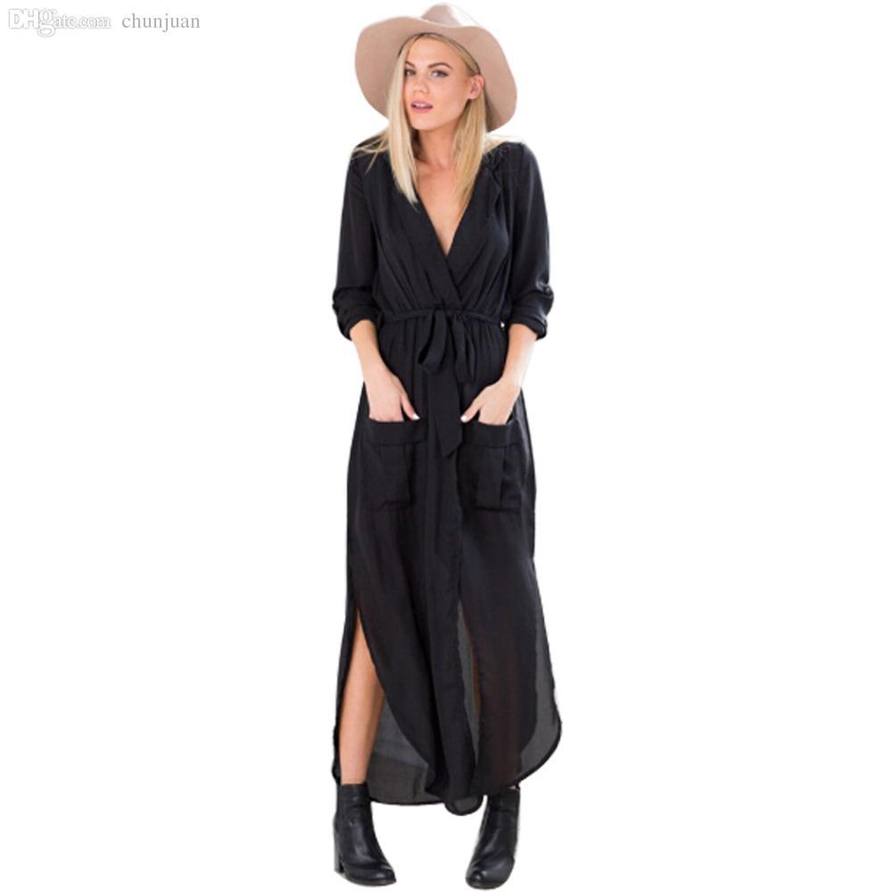 Wholesale-2015 Autumn Winter New Women Split V Neck Long Sleeve Tunic Chiffon Trench Casual Maxi Dress ZM0090
