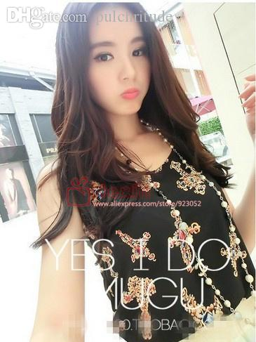 Wholesale-New 2015 Fashion Women Blouses Hot Selling Loose Animal/Flower Sleeveless Printed Chiffon Blouse Autumn-Summer Women Tops