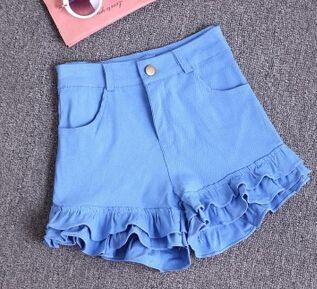 Wholesale-2015 Summer Fashion Vintage high waist shorts cute Ruffles Women Shorts Casual Jeans Denim Shorts