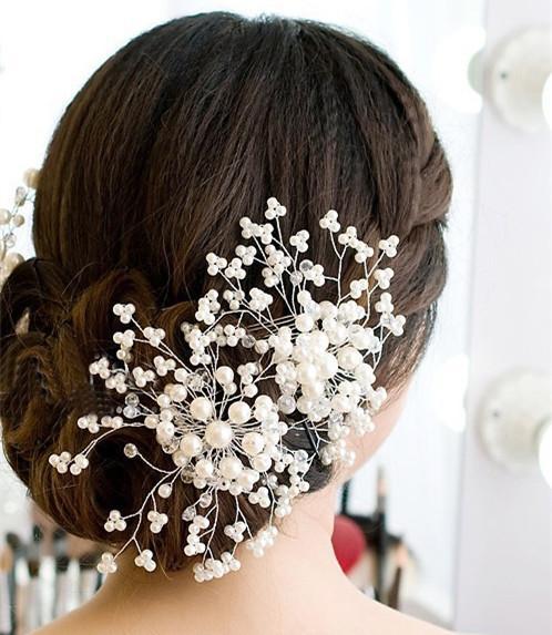Joyería elegante tiaras de novia Hecho a mano perlas de cristal de novia de flores de la boda tocados de novia Peine accesorio del pelo En Stock,
