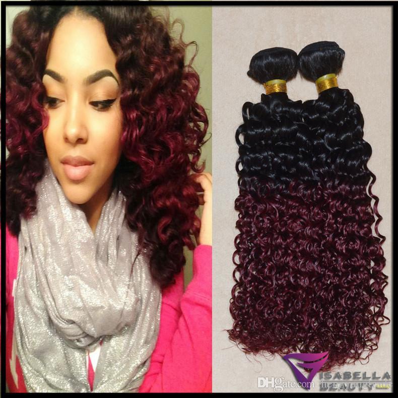 Hengyang brésilienne Ombre Hair Extensions Afro Jerry Curly Two Tone humain Trame cheveux 4pcs 10 \u0026quot;,26  Couleur 1b / 99J Bourgogne Rouge Ombre Hair Weave,