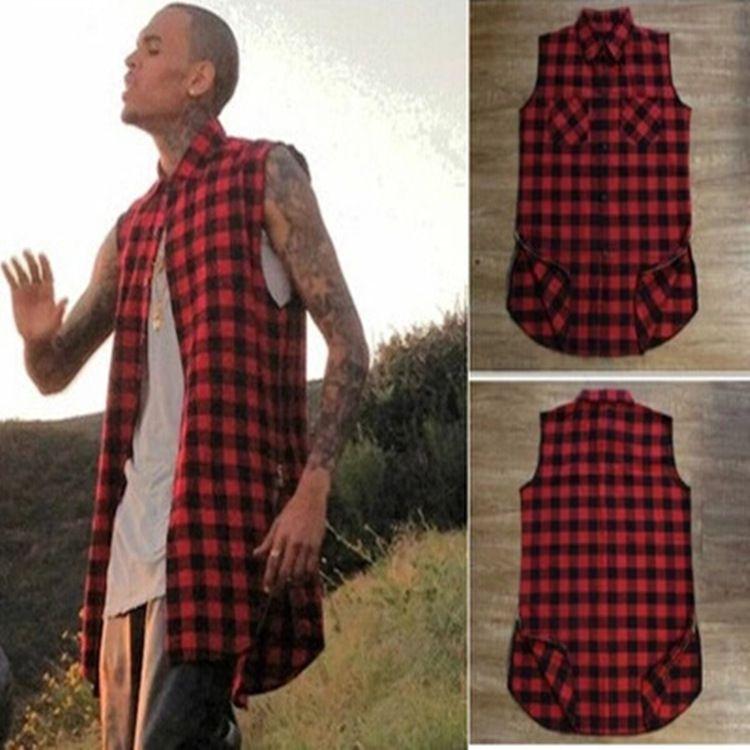 Wholesale-Tyga L K Hip hop gold side zipper oversized plaid flannel shirt tee men casual zippper red plaid tartan last king Tee shirt