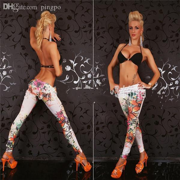 Wholesale-New Fashion Womens Punk Funky Leggings Stretchy Pencil Skinny Floral Printings Pants BZ657006