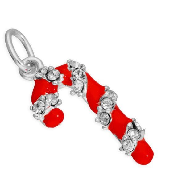 sterling silver candy cane clear cz red enamel charm