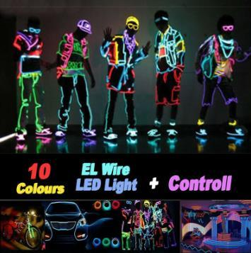 LED Flexible Neon Light Glow EL Strip Tube Cool Wire Rope Home Car Décor