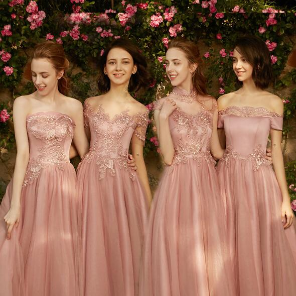 Lace Pink Bridesmaid Dresses