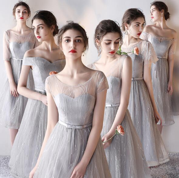 Lace Gray Bridesmaid Dresses