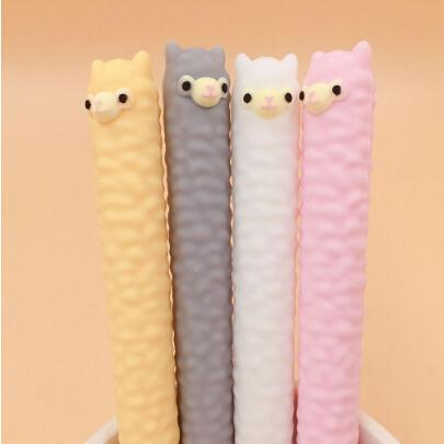 Silicone Cartoon Alpaca Animal Shape Gel Pen Student Stationery Novelty Gift School Material Office Supplies