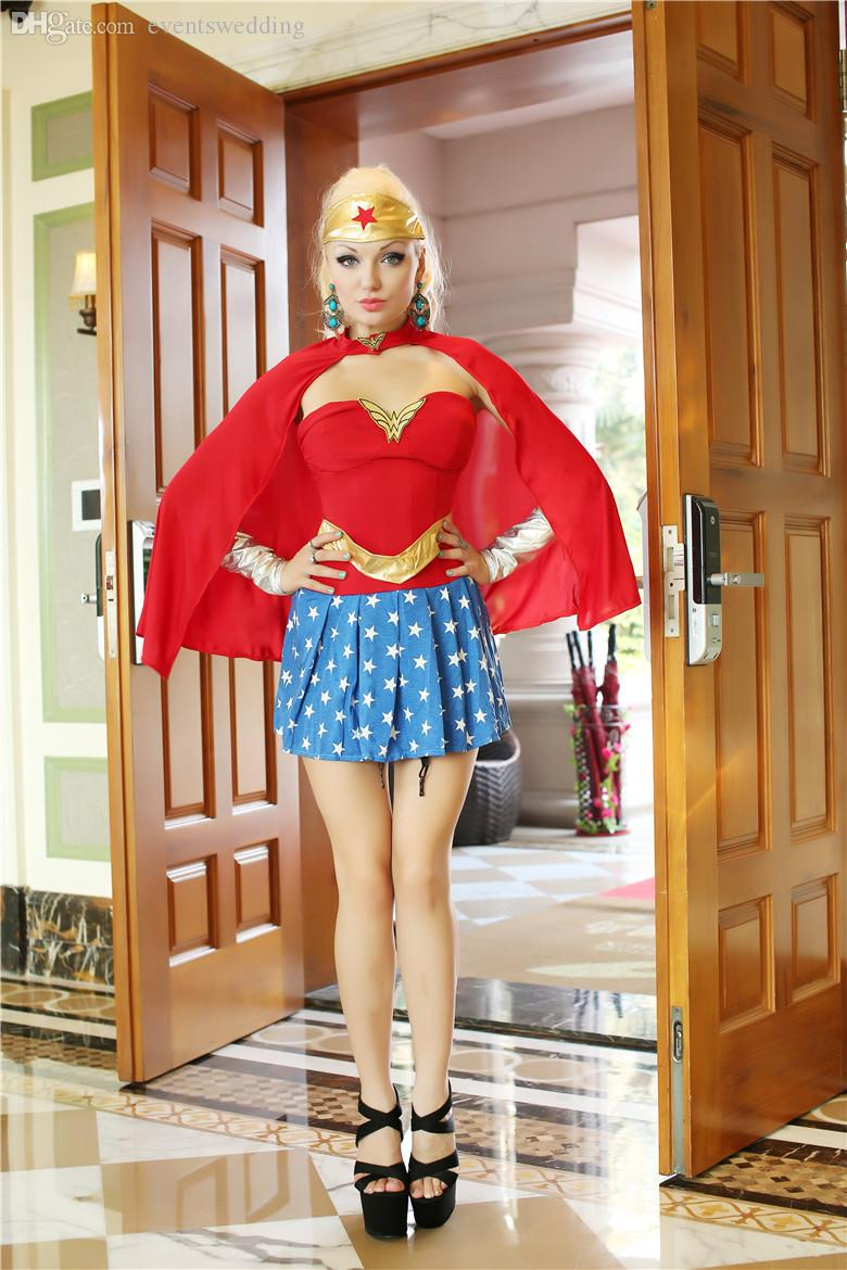 Wholesale-2015 hot sexy cosplay halloween party Wonder Woman costumes for women Y49