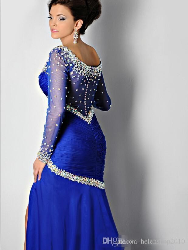 Plus Size! 2015 Royal Blue Long Sleeves Prom Dresses Front Split ...