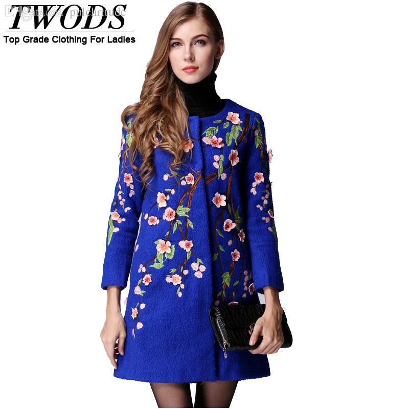 Wholesale-Twods 2015 new luxury Appliques&embroidery o-neck elegant long wool winter coat women Fashion woolen trench overcoat