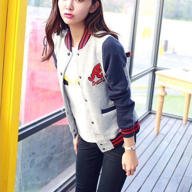 Wholesale-New Fashion Women Baseball Jacket Long Sleeve Patchwork Casual Sport Jacket Coat Students Style Varsity Jackets Outwear LL1107