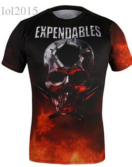 Wholesale-New 2015 compressed t-shirt Expendables t shirt mens sports quick dry fitness clothing compression tights shirts for men