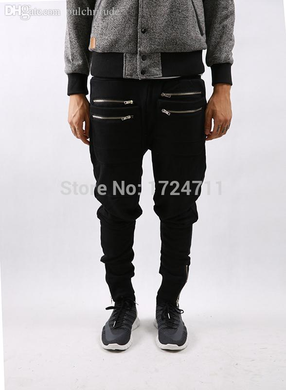 Wholesale-2015 new hip hop side zipper cool mens joggers drop crotch sweatpants harem pants hba swag pyrex kanye west justin bieber
