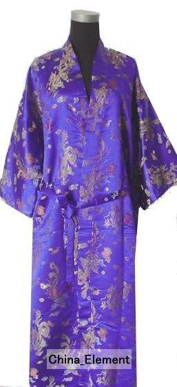Wholesale-Hot Sale Purple Chinese Men Silk Satin Robe Kimono Bathrobe Gown Sleepwear With Dragon Phoenix Size S M L XL XXL MR078