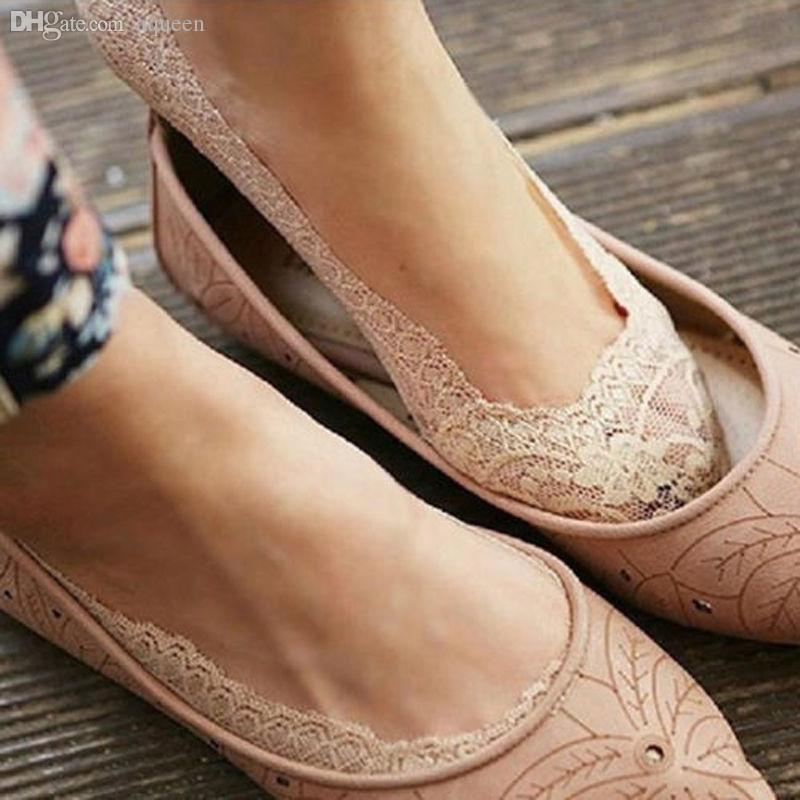 Wholesale-2015 Fashion HOT New Summer Womens Cotton Lace Antiskid Invisible Liner No Show Peds Low Cut Socks