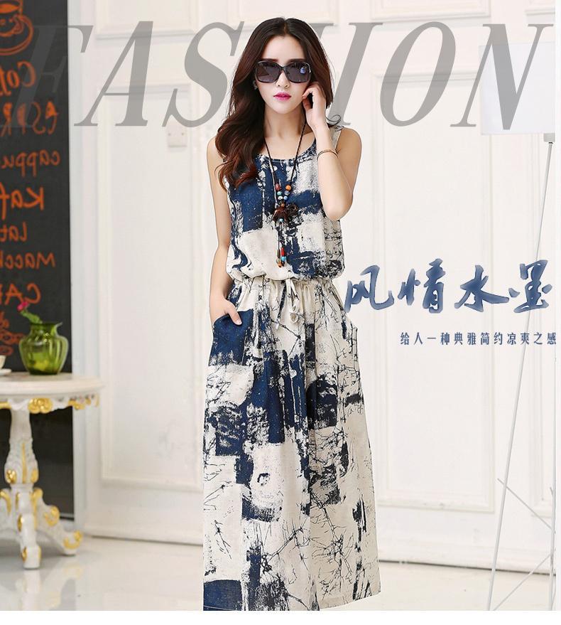 Wholesale-Vintage floral dress female 2015 Summer Women New Cotton maxi Dress casual Linen Sleeveless blue black Long Dress vestido