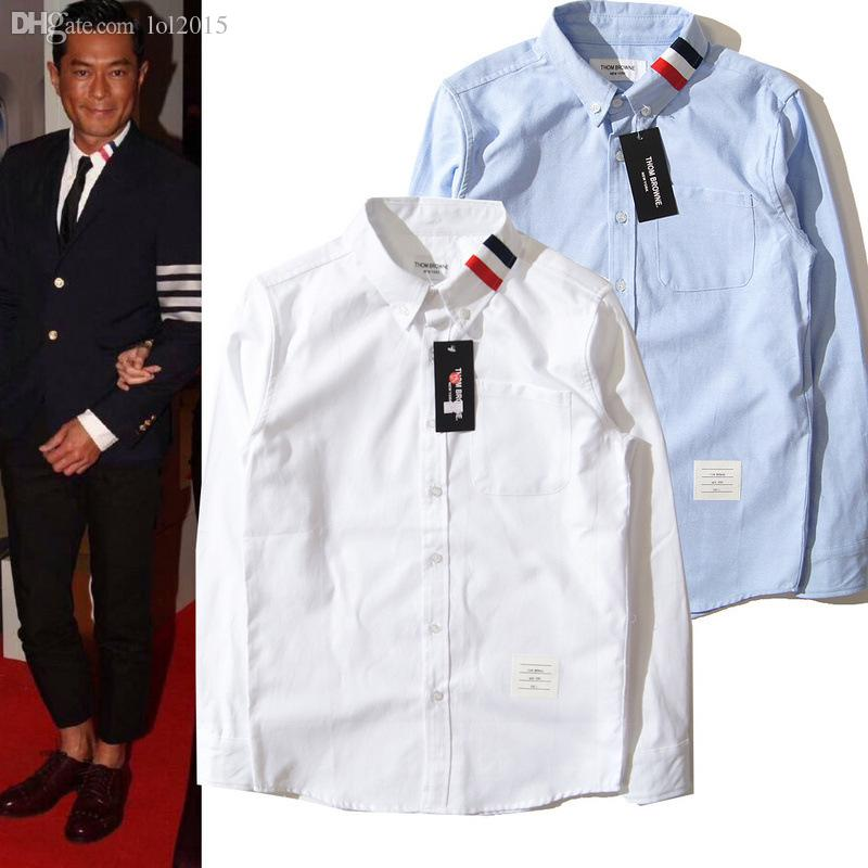 Wholesale-2015 New Fashion Famous Brand Long-sleeve Shirt Male Thom browned Two colors Shirt Oxford 100% Cotton Silk Cloth White Hot sale