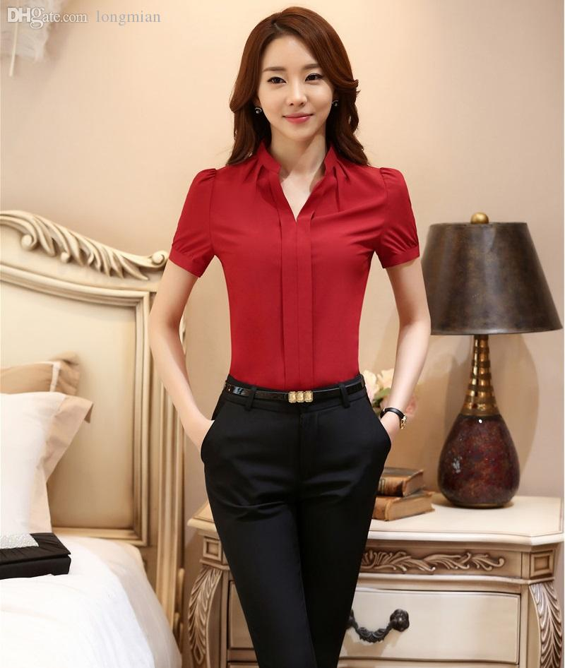Wholesale-New Elegant Red Professional Uniform Styles Female Pantsuits Tops And Pants OL Work Wear 2016 Summer Women Trousers Suits