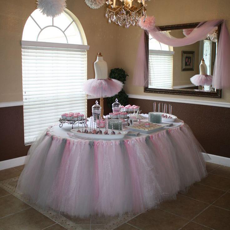 Pictures Of Luxury Tulle Tutu Table Skirt Custom made Size