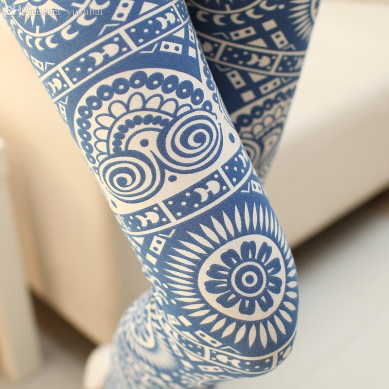 Wholesale-2015 New Fashion Retro Printing Graffiti Leggings Cotton Fitness Gym Sports Pants Women Trousers
