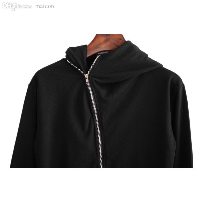Wholesale-New Europea America men inclined zipper wizard cloak hoody sweatshirts black mantle outwear man streetwear hip hop hoodies
