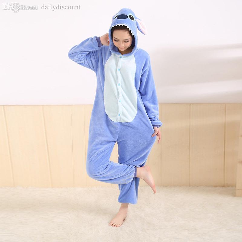 Wholesale-All in One Flannel Anime Pijama Cartoon Cosplay Warm Easy for Bathroom Adult Unisex Homewear Onesies Animal Pajamas Stitch New
